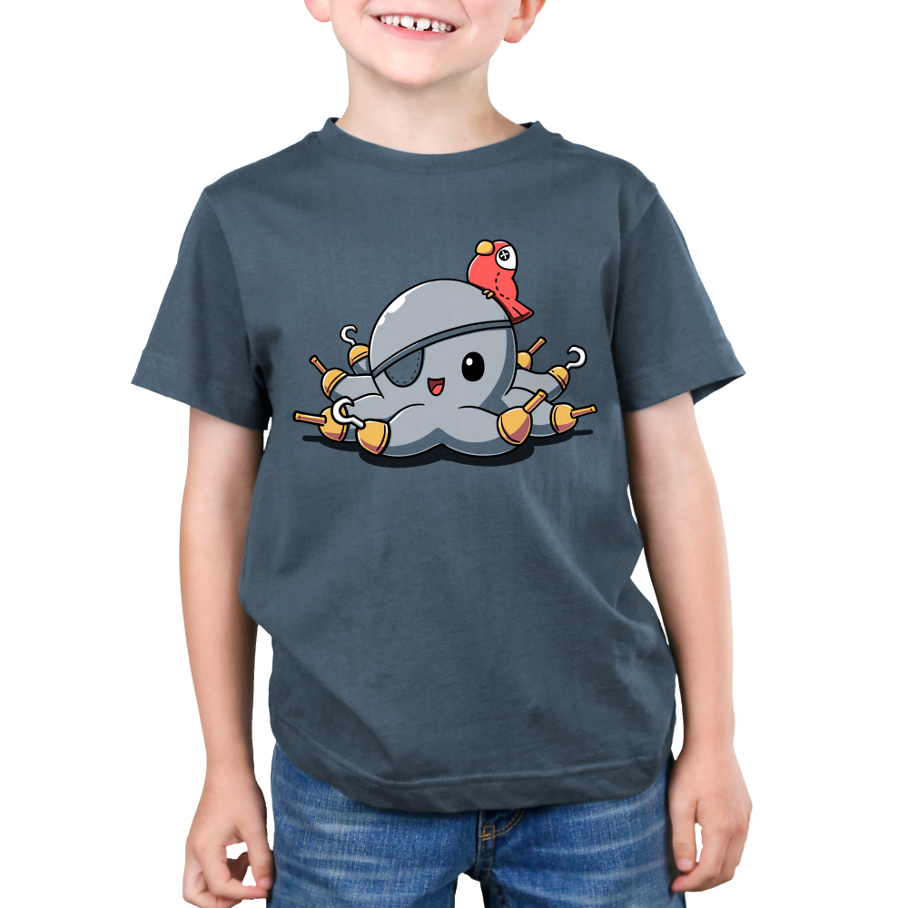 Peg Legs Kid's t-shirt model TeeTurtle indigo t-shirt featuring an octopus with peg legs on all of his tentacles with an eye patch and a red parrot on his head