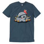 Peg Legs t-shirt TeeTurtle indigo t-shirt featuring an octopus with peg legs on all of his tentacles with an eye patch and a red parrot on his head