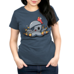 Peg Legs Women's t-shirt model TeeTurtle indigo t-shirt featuring an octopus with peg legs on all of his tentacles with an eye patch and a red parrot on his head