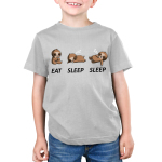 Eat Sleep Sleep Kid's t-shirt model TeeTurtle silver t-shirt featuring a sloth eating a cookie and then sleeping on the ground