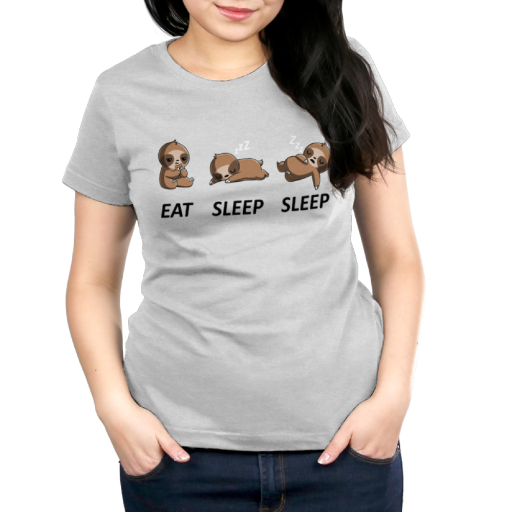 Eat Sleep Sleep Women's t-shirt model TeeTurtle silver t-shirt featuring a sloth eating a cookie and then sleeping on the ground