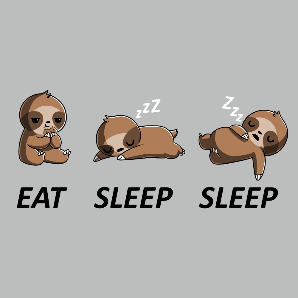 Eat Sleep Sleep t-shirt TeeTurtle silver t-shirt featuring a sloth eating a cookie and then sleeping on the ground