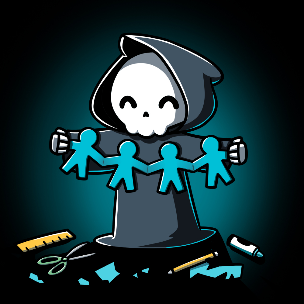 Craft Til I Die t-shirt TeeTurtle black t-shirt featuring a skeleton in a cloak holding up paper mache men with crafting tools on the floor around him