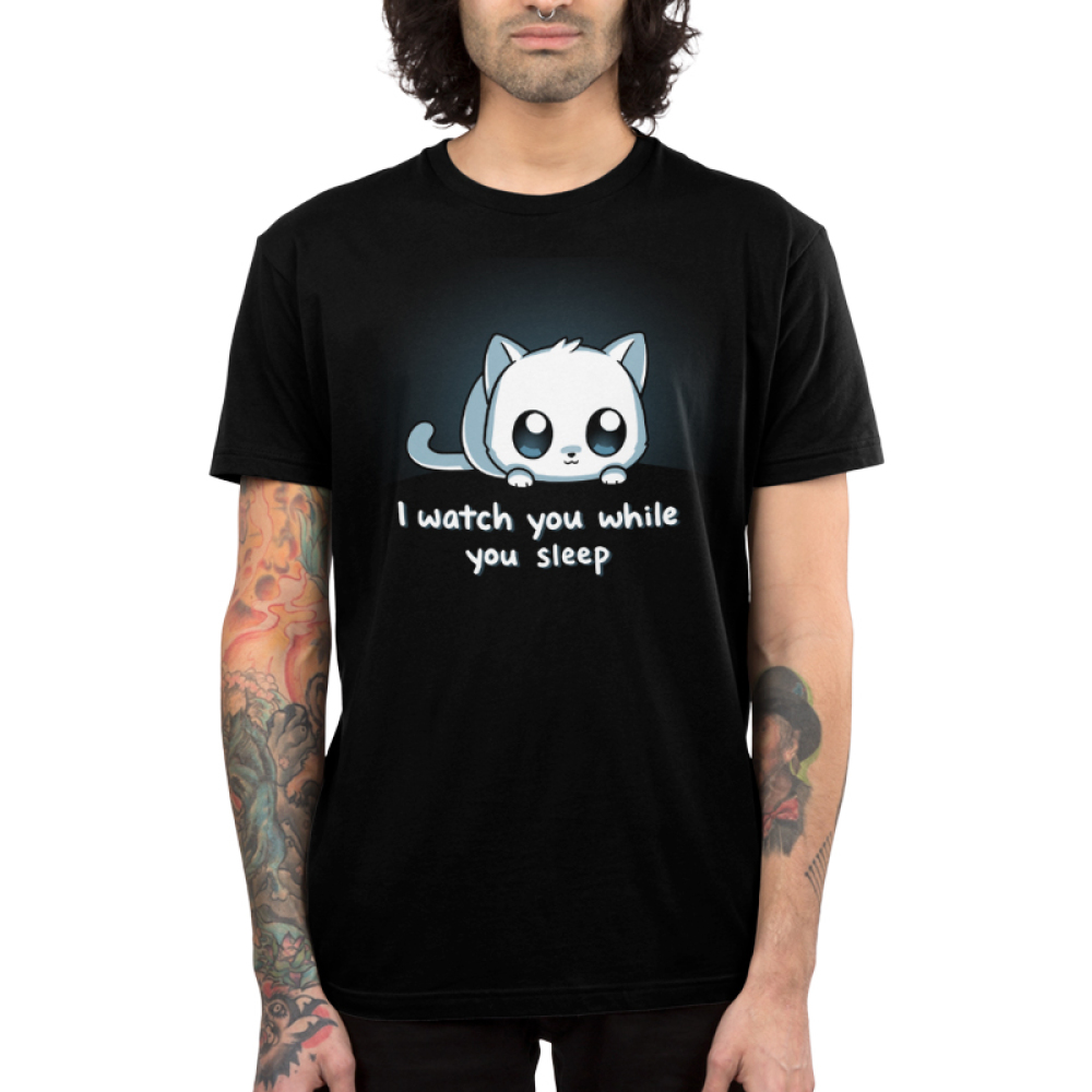 I Watch You While You Sleep Men's t-shirt model TeeTurtle black t-shirt featuring a white cat with big eyes
