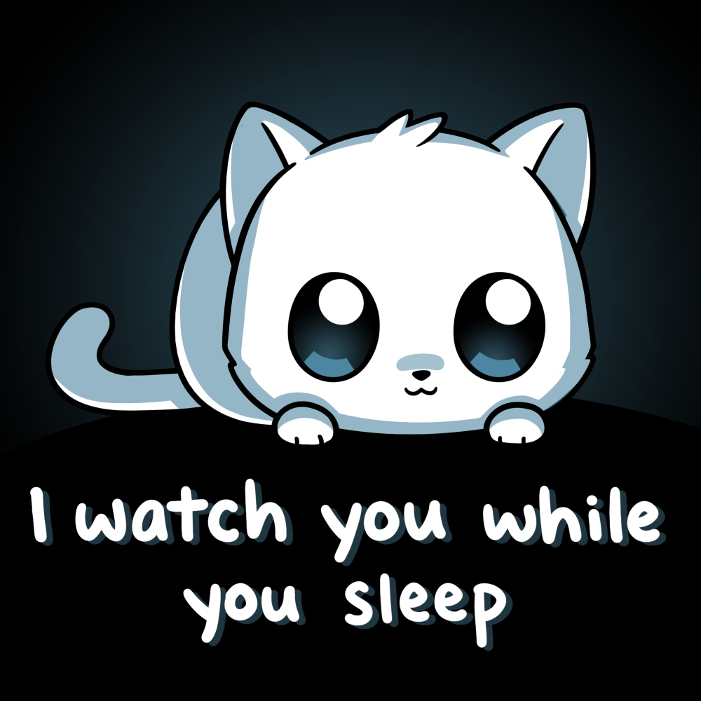 I Watch You While You Sleep t-shirt TeeTurtle black t-shirt featuring a white cat with big eyes