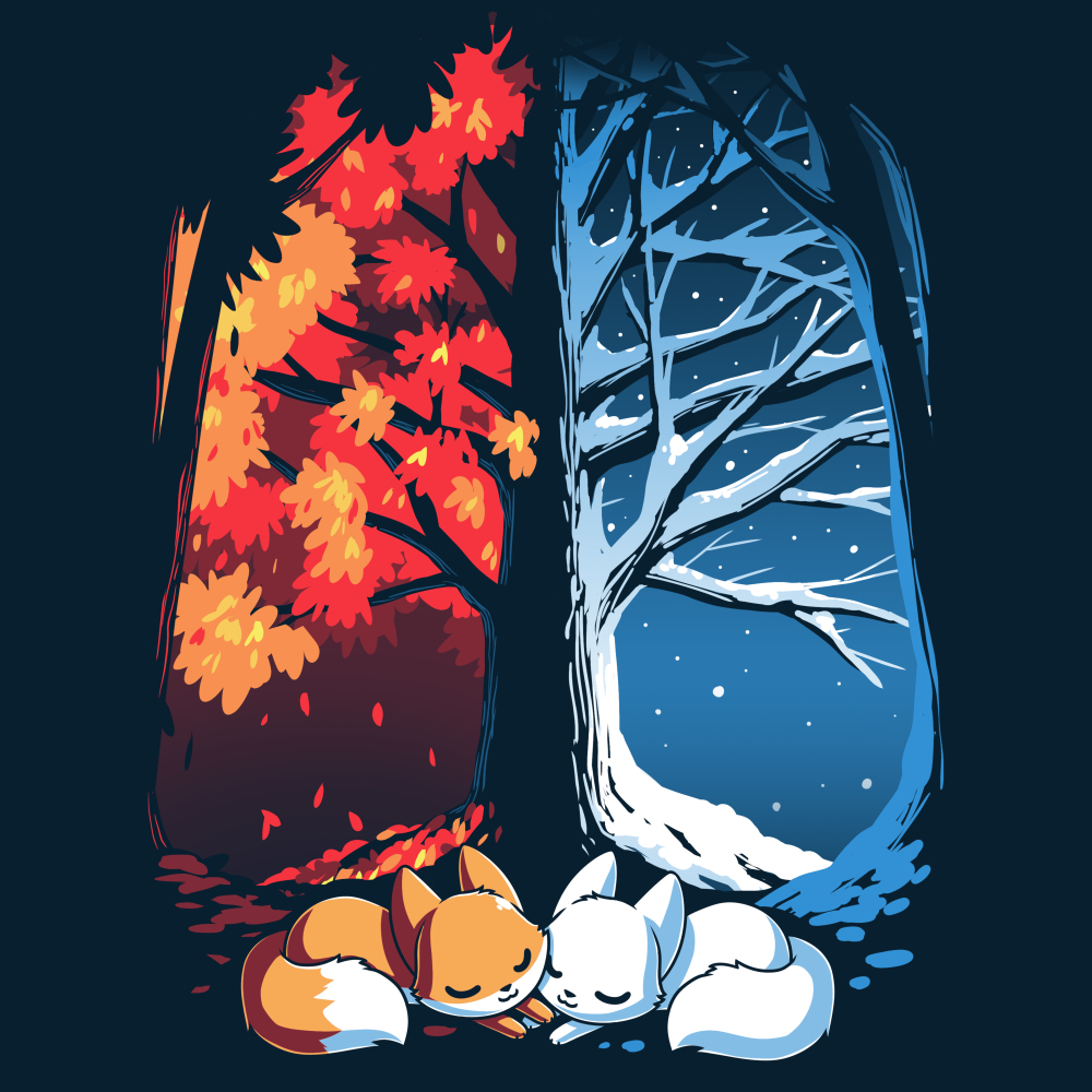 Fall & Winter Foxes t-shirt TeeTurtle navy t-shirt featuring a large tree with one side covered in snow and the other side covered in orange autumn leaves with two foxes laying underneath it, one orange and one white