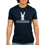 I'm Not Responsible For My Facial Expressions Men's t-shirt model TeeTurtle navy t-shirt featuring an angry looking white bunny
