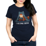 I Belong Inside Women's t-shirt model TeeTurtle navy t-shirt featuring a wide eyed fox with a blanket over its head staring at a video game screen