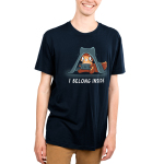 I Belong Inside Men's t-shirt model TeeTurtle navy t-shirt featuring a wide eyed fox with a blanket over its head staring at a video game screen