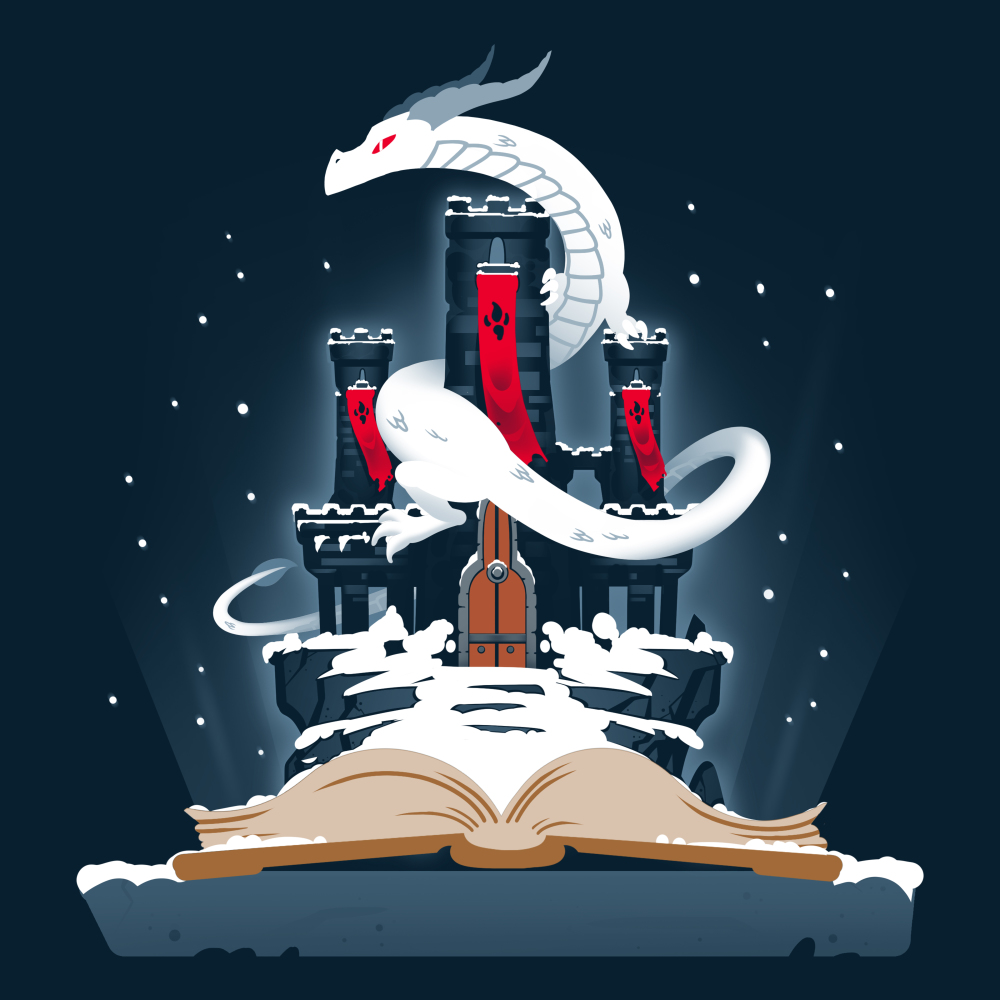 Legendary Tale t-shirt TeeTurtle navy t-shirt featuring a castle and a white dragon coming out of a story book