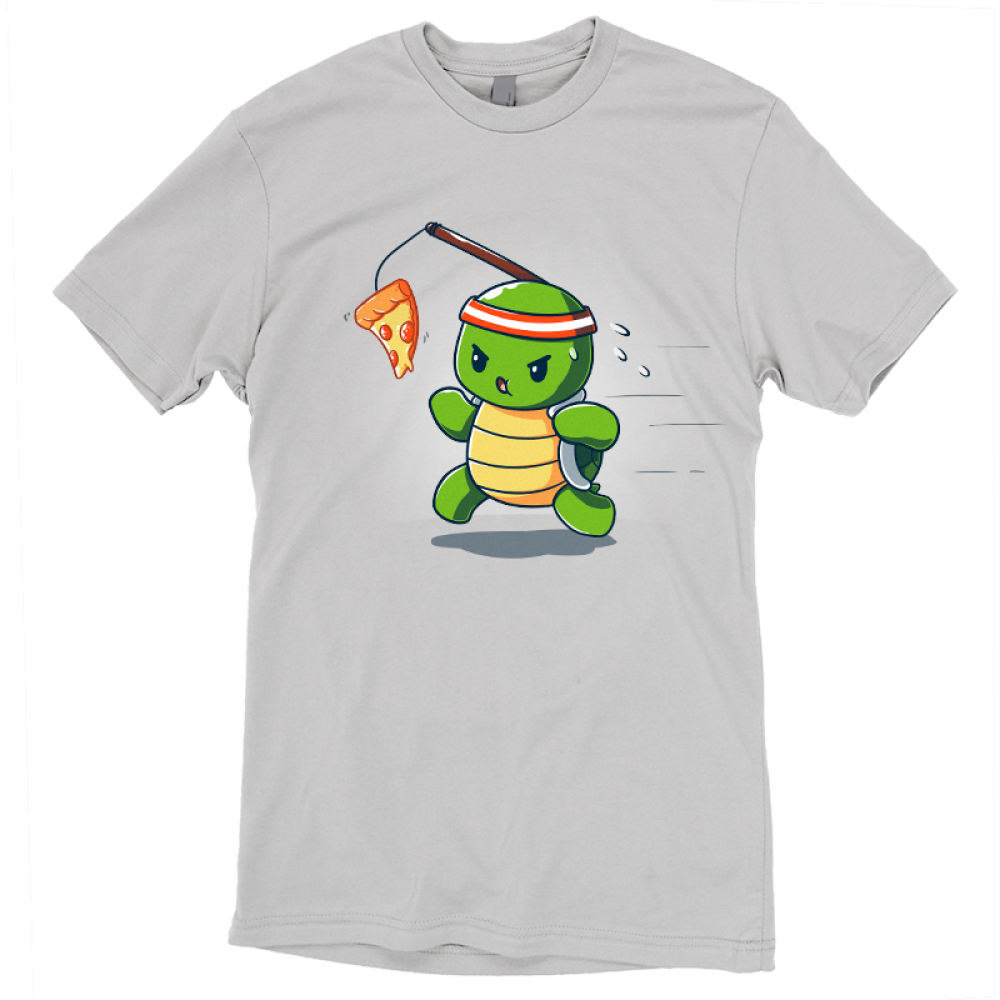 Ninja Training t-shirt TeeTurtle silver t-shirt featuring a turtle with a red sweat band on his head running with a piece of pizza dangling in front of him