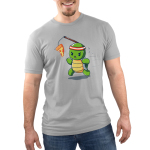 Ninja Training Men's t-shirt model TeeTurtle silver t-shirt featuring a turtle with a red sweat band on his head running with a piece of pizza dangling in front of him