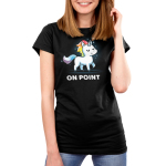 On Point Women's t-shirt model TeeTurtle black t-shirt featuring a unicorn with a rainbow mane and tail with sparkles around them