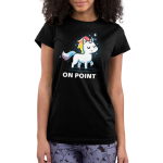On Point Junior's t-shirt model TeeTurtle black t-shirt featuring a unicorn with a rainbow mane and tail with sparkles around them
