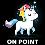On Point t-shirt TeeTurtle black t-shirt featuring a unicorn with a rainbow mane and tail with sparkles around them