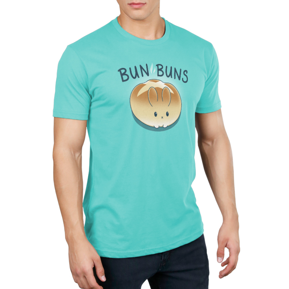 Bun Buns Men's t-shirt model TeeTurtle Caribbean blue t-shirt featuring a round bunny that looks like bread roll