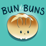 Bun Buns t-shirt TeeTurtle Caribbean blue t-shirt featuring a round bunny that looks like bread roll