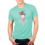 Lazy Sundae Shirt Men's t-shirt model TeeTurtle light turquoise t-shirt featuring a brown cat, a white cat, and a pink cat in an ice cream sundae glass with a cherry on top