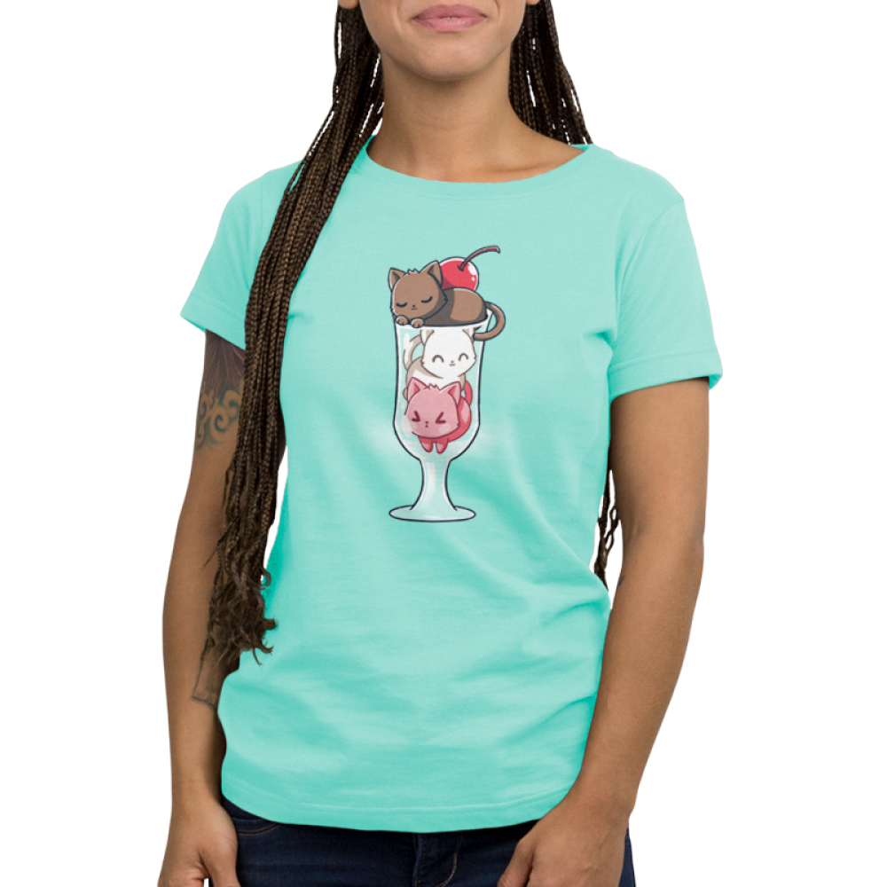 Lazy Sundae Shirt Women's t-shirt model TeeTurtle light turquoise t-shirt featuring a brown cat, a white cat, and a pink cat in an ice cream sundae glass with a cherry on top