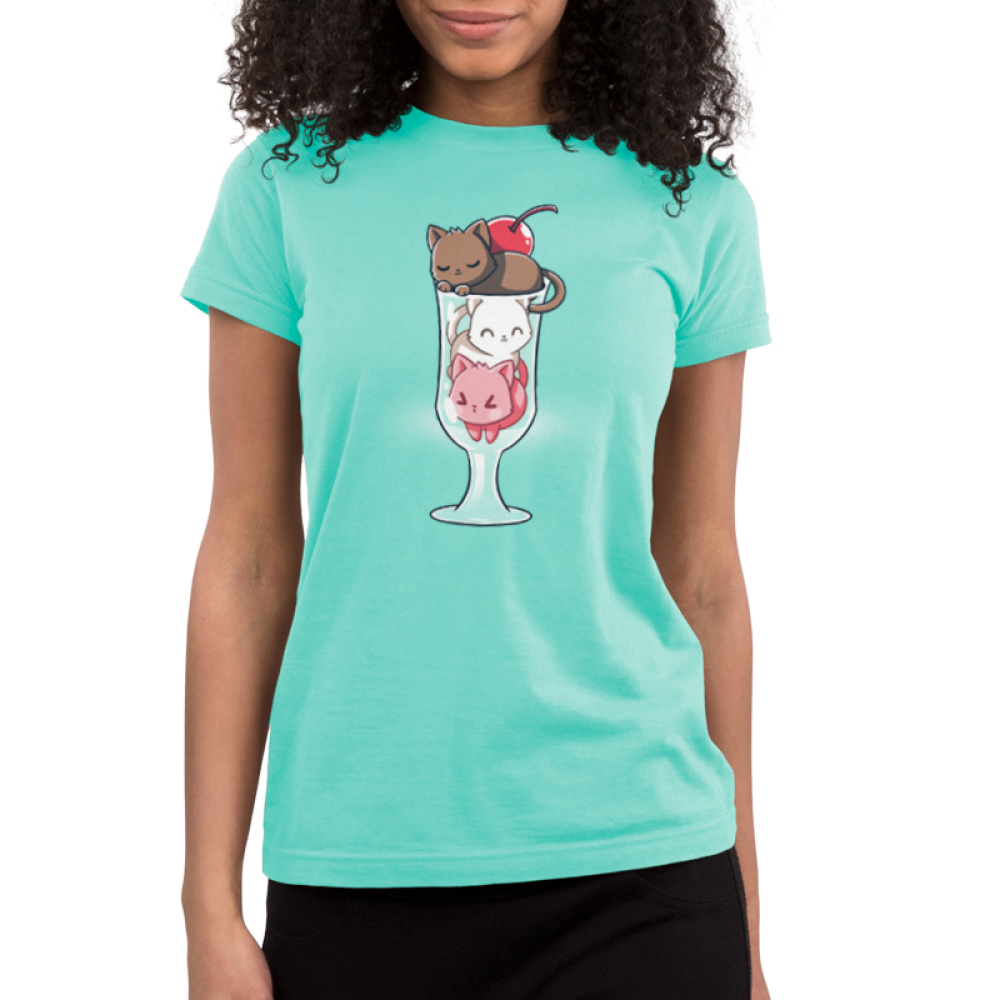Lazy Sundae Shirt Junior's t-shirt model TeeTurtle light turquoise t-shirt featuring a brown cat, a white cat, and a pink cat in an ice cream sundae glass with a cherry on top