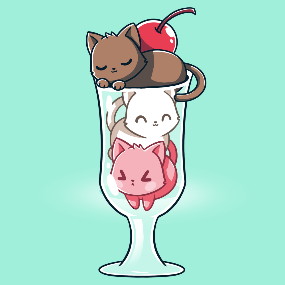 Lazy Sundae Shirt t-shirt TeeTurtle light turquoise t-shirt featuring a brown cat, a white cat, and a pink cat in an ice cream sundae glass with a cherry on top
