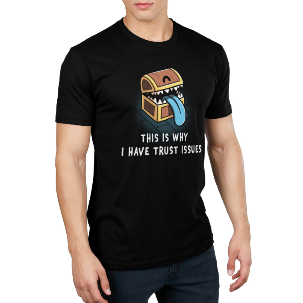 Trust Issues Men's t-shirt model TeeTurtle black t-shirt featuring a treasure chest with teeth and a blue tongue