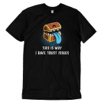 Trust Issues t-shirt TeeTurtle black t-shirt featuring a treasure chest with teeth and a blue tongue