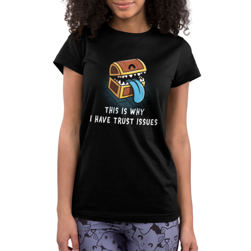 Trust Issues Junior's t-shirt model TeeTurtle black t-shirt featuring a treasure chest with teeth and a blue tongue