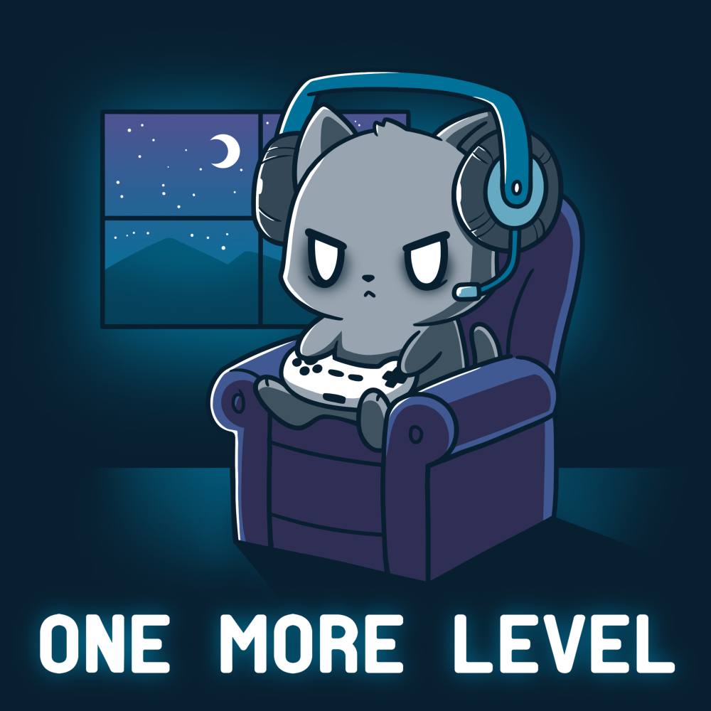 One More Level t-shirt TeeTurtle navy t-shirt featuring a cat sitting on a chair playing video games with a headset on while it is dark outside