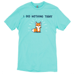 I Did Nothing Today t-shirt TeeTurtle Caribbean blue t-shirt featuring a cute fox with his arms up