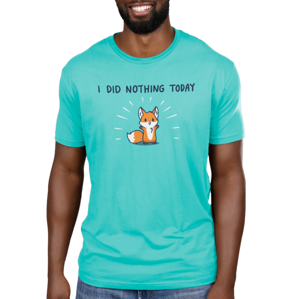 I Did Nothing Today Men's t-shirt model TeeTurtle Caribbean blue t-shirt featuring a cute fox with his arms up