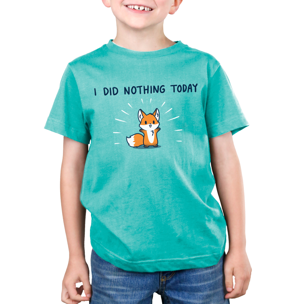 I Did Nothing Today Kid's t-shirt model TeeTurtle Caribbean blue t-shirt featuring a cute fox with his arms up