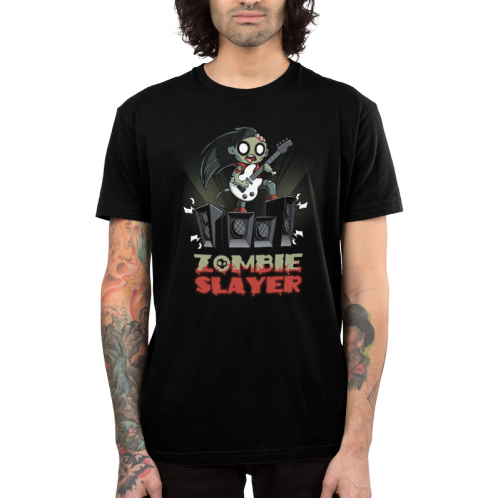 Zombie Slayer Men's t-shirt model TeeTurtle black t-shirt featuring a zombie rocking out with a white guitar on a set of four amplifier speakers