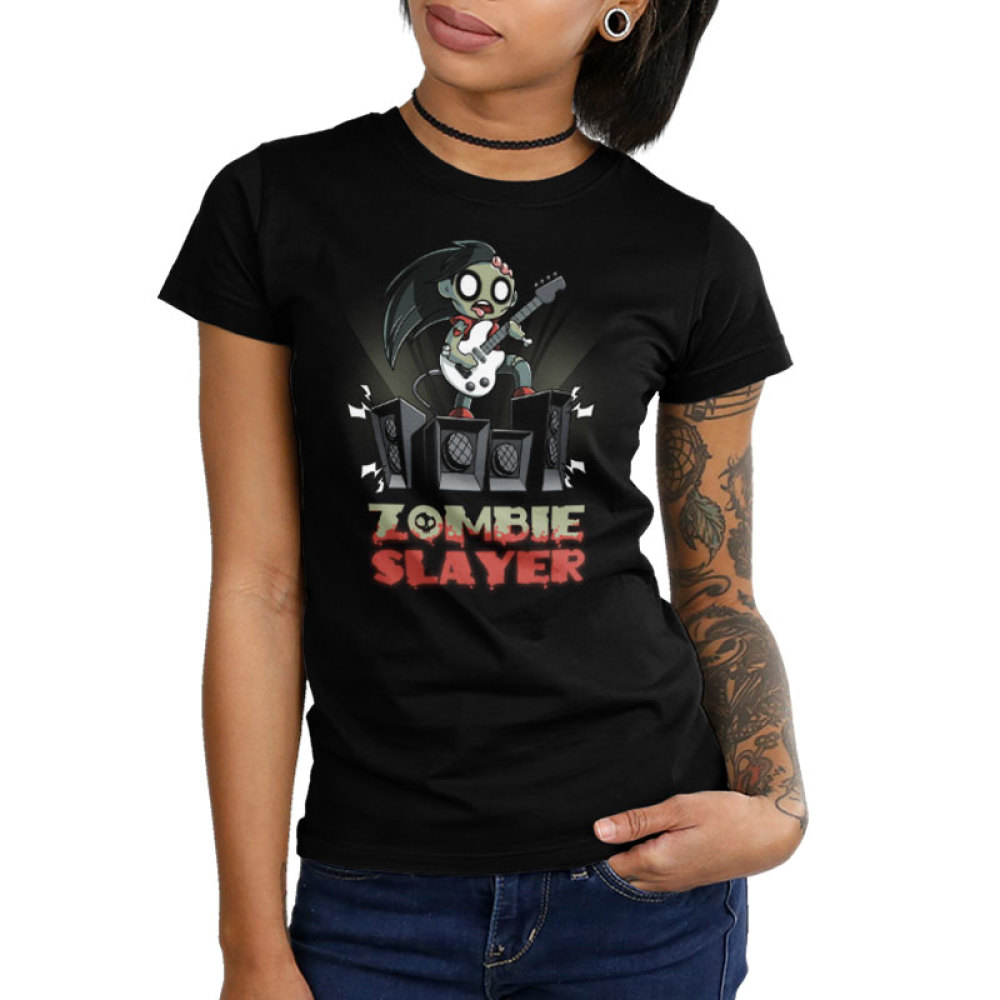 Zombie Slayer Junior's t-shirt model TeeTurtle black t-shirt featuring a zombie rocking out with a white guitar on a set of four amplifier speakers