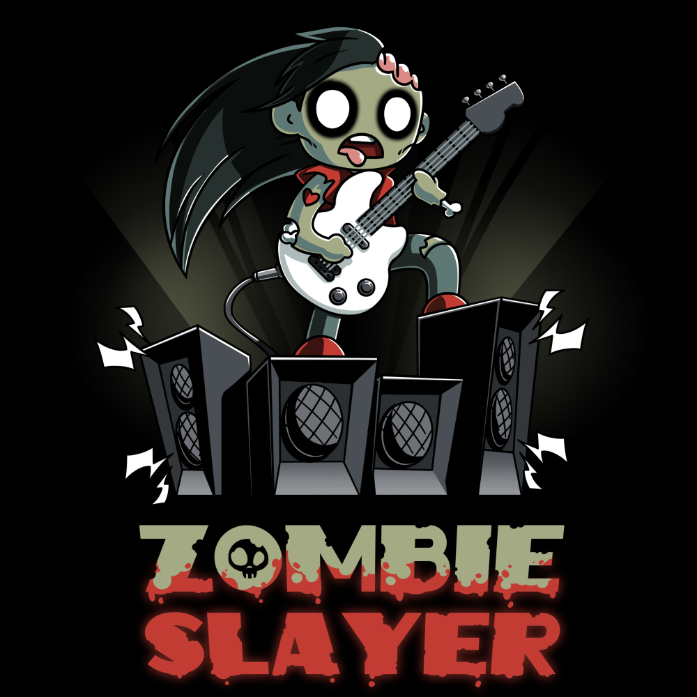Zombie Slayer t-shirt TeeTurtle black t-shirt featuring a zombie rocking out with a white guitar on a set of four amplifier speakers