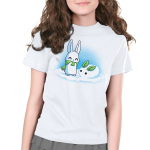Snow Bunnies Kid's t-shirt model TeeTurtle white t-shirt featuring a bunny outside standing in snow with a green scarf standing next to a snow bunny he made