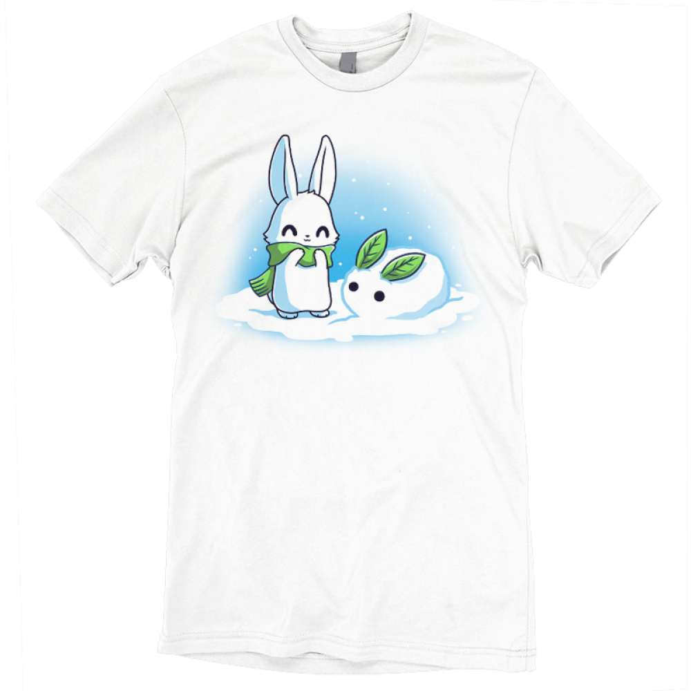 Snow Bunnies t-shirt TeeTurtle white t-shirt featuring a bunny outside standing in snow with a green scarf standing next to a snow bunny he made