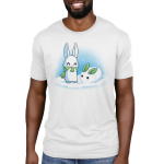 Snow Bunnies Men's t-shirt model TeeTurtle white t-shirt featuring a bunny outside standing in snow with a green scarf standing next to a snow bunny he made