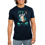 Mage Class Men's t-shirt model TeeTurtle navy t-shirt featuring a bunny in a video game