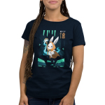 Mage Class Women's t-shirt model TeeTurtle navy t-shirt featuring a bunny in a video game