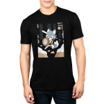 Warrior Class Men's t-shirt model TeeTurtle black t-shirt featuring a fox as a warrior in a video game