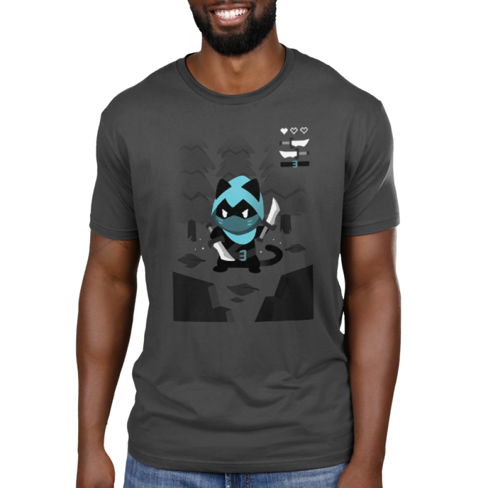 Rogue Class Men's t-shirt model TeeTurtle charcoal t-shirt featuring a rogue character in a video game