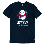 Stabby the Snowman t-shirt TeeTurtle navy t-shirt featuring a smiling snow man sitting in the snow with a knife in his hand