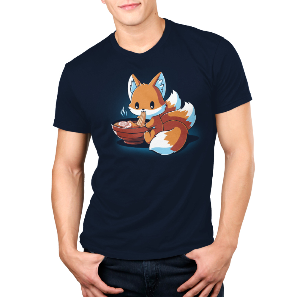 Ramen Kitsune Men's t-shirt model TeeTurtle navy t-shirt featuring a kitsune eating a warm bowl of ramen