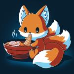 Ramen Kitsune t-shirt TeeTurtle navy t-shirt featuring a kitsune eating a warm bowl of ramen