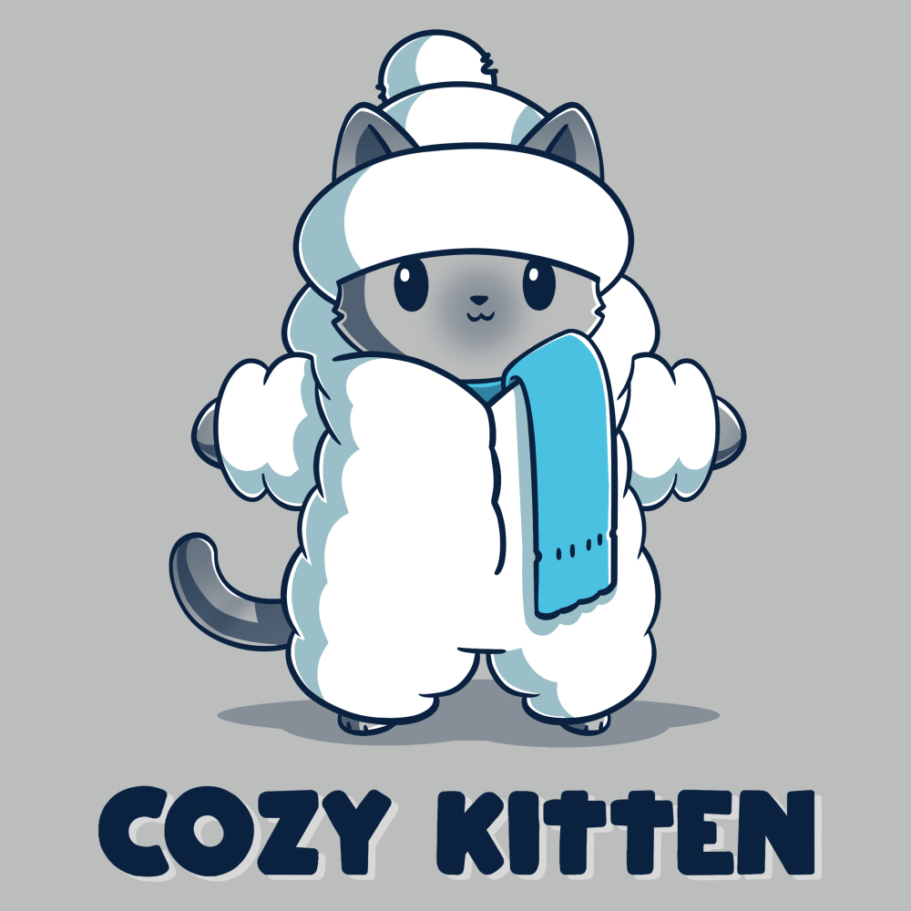 Cozy Kitten t-shirt TeeTurtle silver t-shirt featuring a gray kitten bundled up in a puffy white coat, hat, and scarf