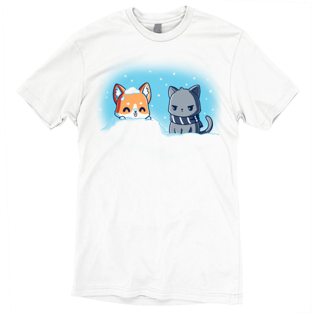 Snow Pals t-shirt TeeTurtle white t-shirt featuring a happy dog buried in a pile of snow outside with an angry looking cat in a scarf sitting next to him
