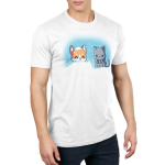 Snow Pals Men's t-shirt model TeeTurtle white t-shirt featuring a happy dog buried in a pile of snow outside with an angry looking cat in a scarf sitting next to him