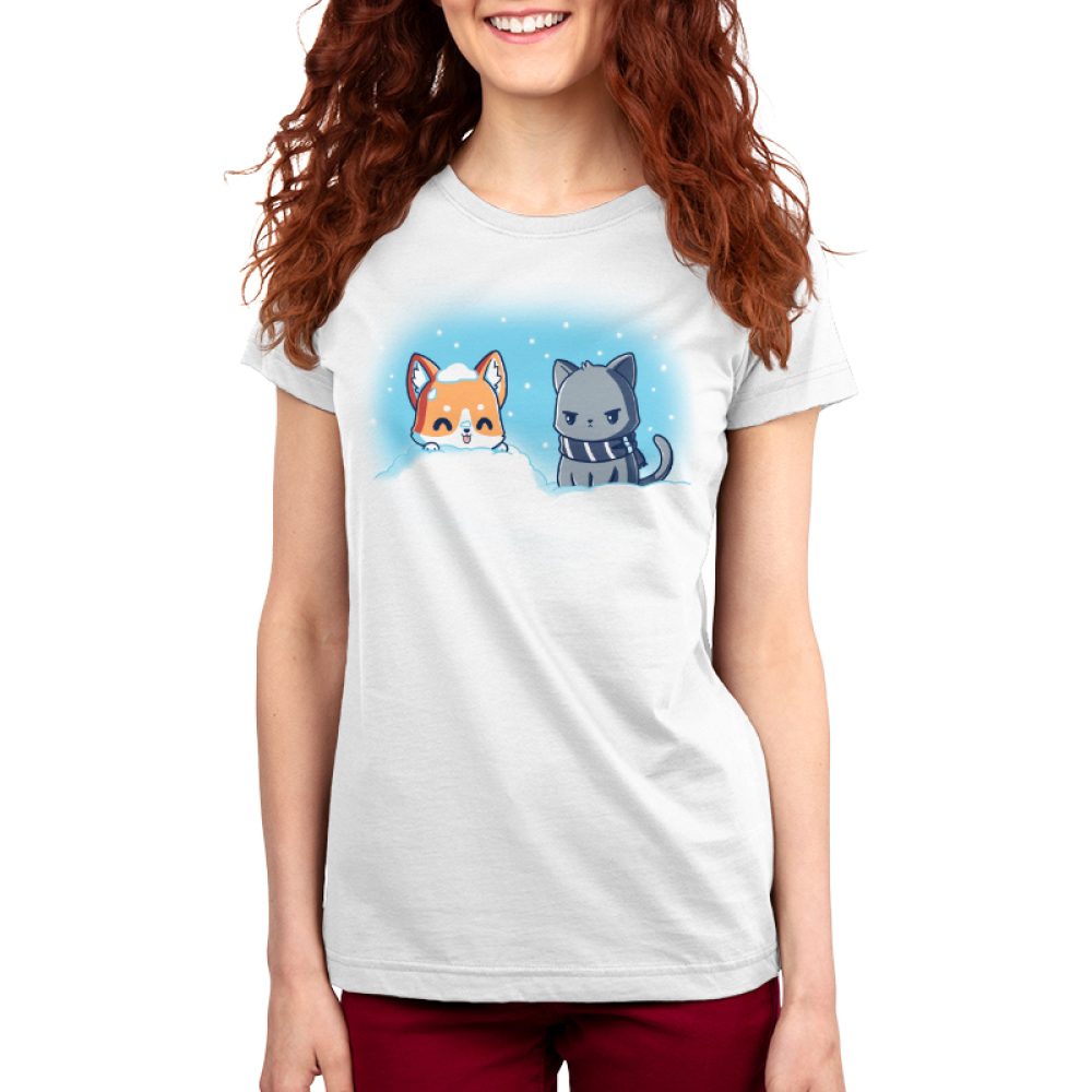 Snow Pals Women's t-shirt model TeeTurtle white t-shirt featuring a happy dog buried in a pile of snow outside with an angry looking cat in a scarf sitting next to him