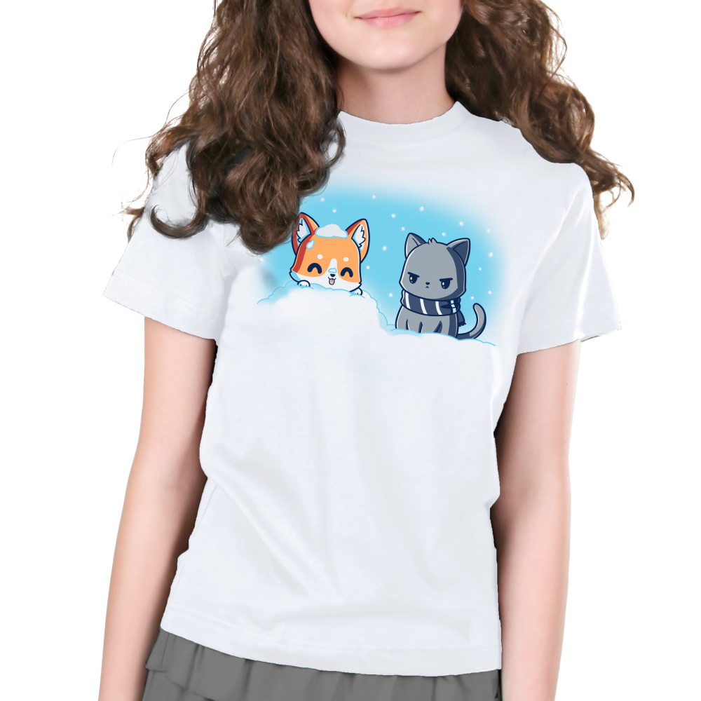 Snow Pals Kid's t-shirt model TeeTurtle white t-shirt featuring a happy dog buried in a pile of snow outside with an angry looking cat in a scarf sitting next to him